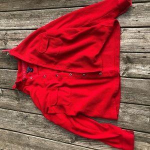 red fuzzy jacket